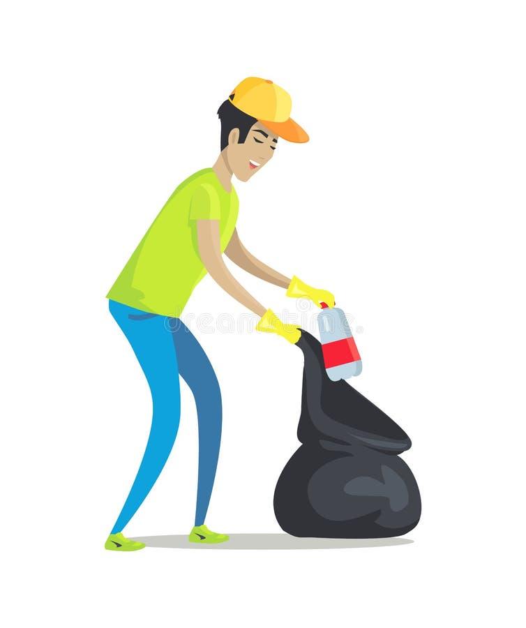 Facet Czyści śmieci z Gumowymi rękawiczkami i paczką royalty ilustracja