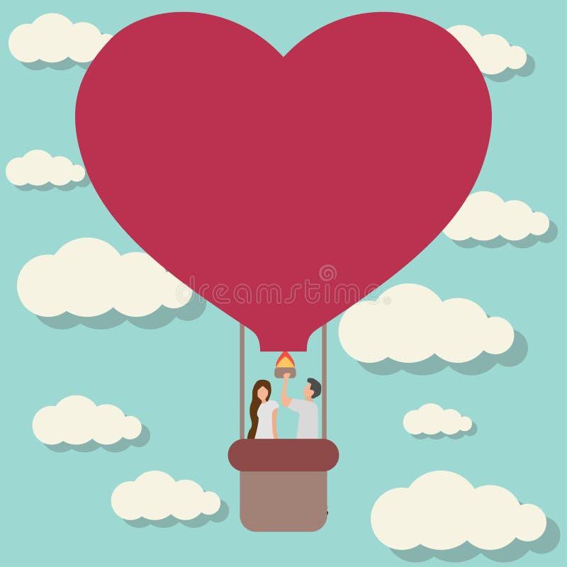 facet dziewczyna na lotniczego ballon płaskim projekcie ilustracja wektor