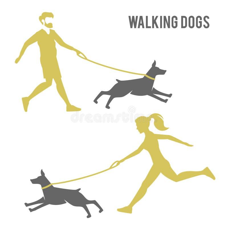 Facet i dziewczyna chodzi psa ilustracji