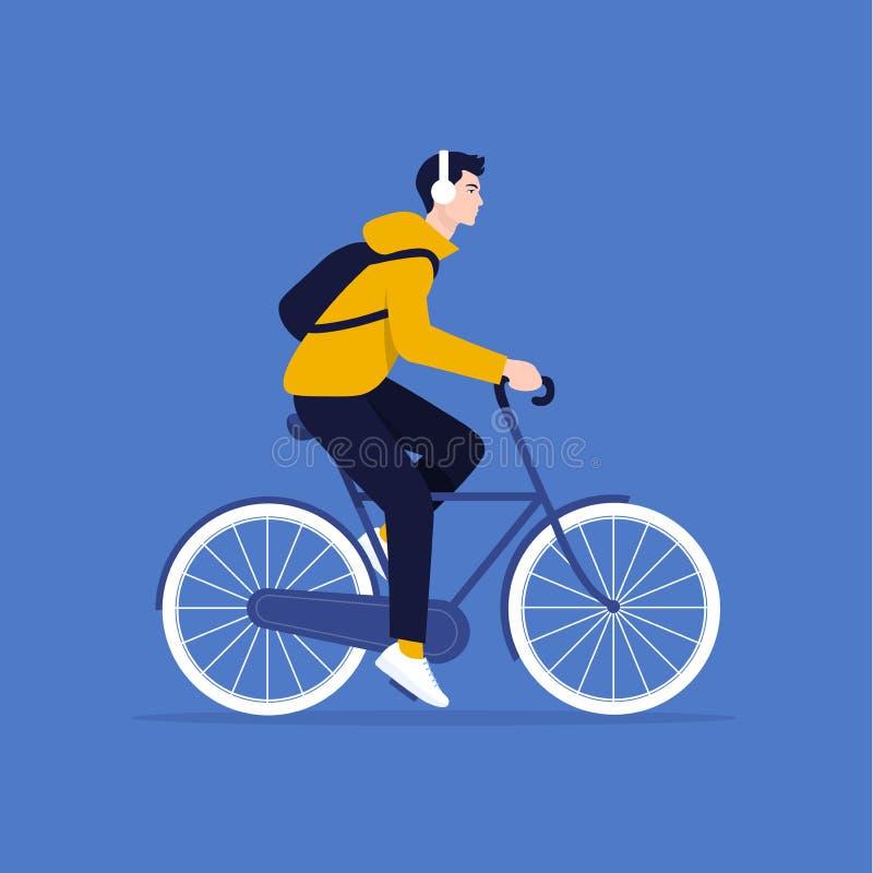 Facet jedzie bicykl Wektorowa płaska ilustracja fotografia royalty free