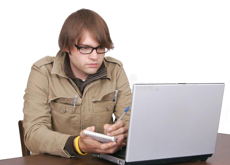 facet komputerowy dziennikarza laptop obraz stock