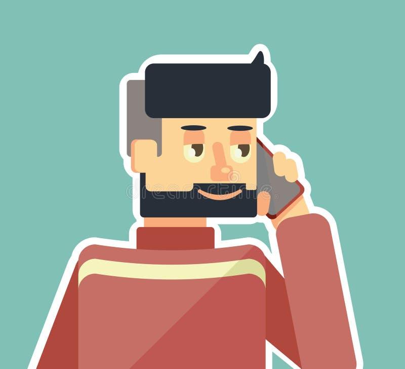 Facet mówi na telefonie ilustracja wektor