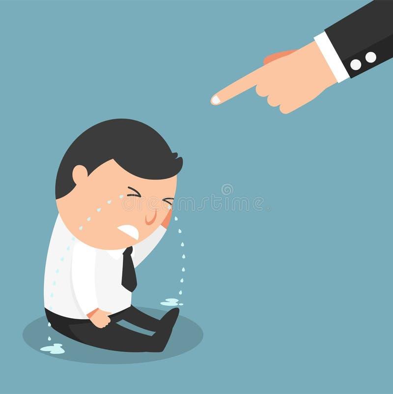 Facet płacze po bardzo mocno dostać winiącym jego szefem ilustracji