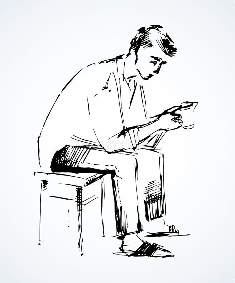 Facet siedzi na stolec rysuje t?a trawy kwiecistego wektora royalty ilustracja