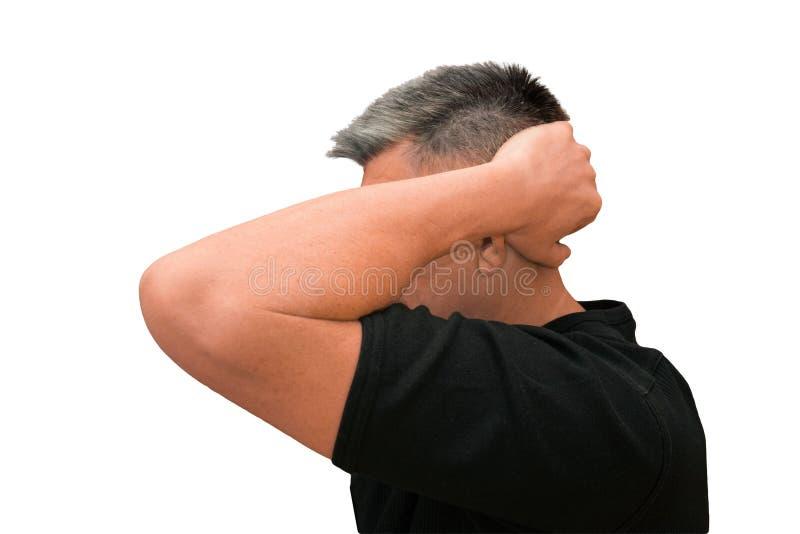 Facet stawiać ręki za głową Odosobniony profilowy portret na białym tle Emocja i gest w średnim wieku nieogolony kostrzewiasty mę zdjęcie stock