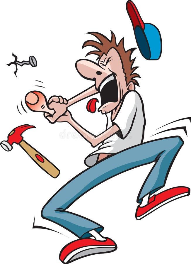 Facet uderza kciuk z młotem ilustracji