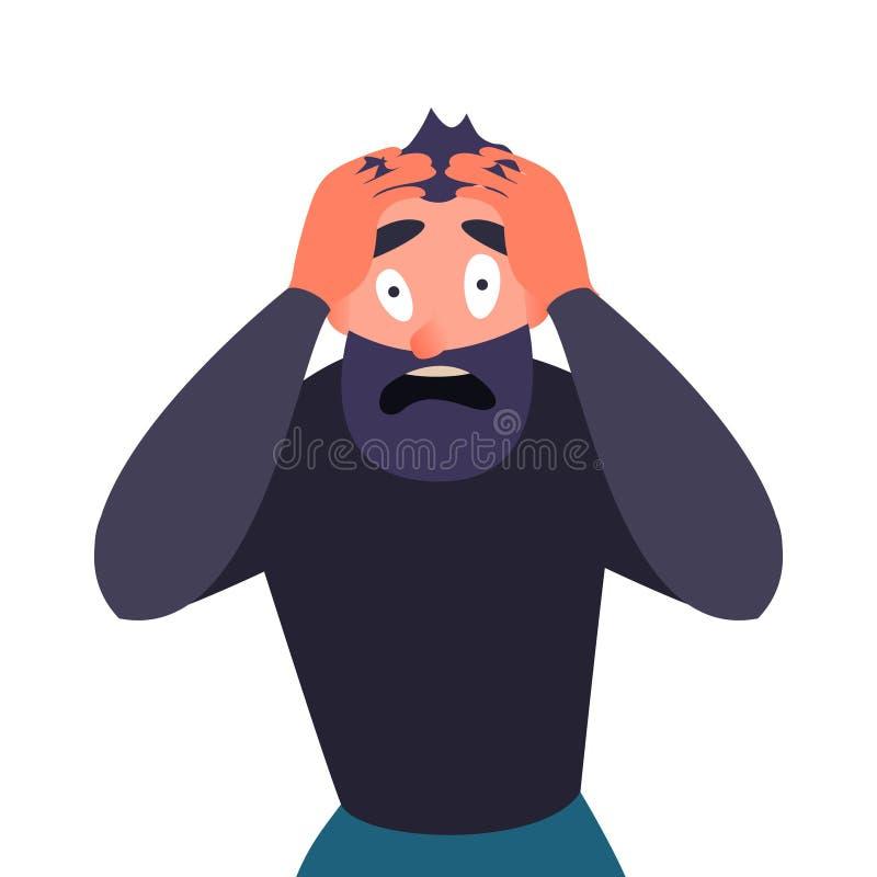 Facet w ataku paniki, przerażającym Postać z kreskówki krzyczy w horrorze i przylega jego głowa Mężczyzna z migreną ilustracja wektor