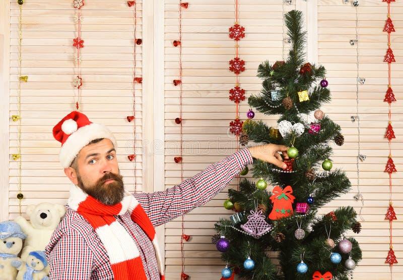 Facet w kapeluszu i szalika stojakach jedlinowym drzewem obrazy stock