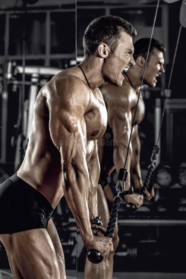 Faceta bodybuilder z dumbbell zdjęcia stock