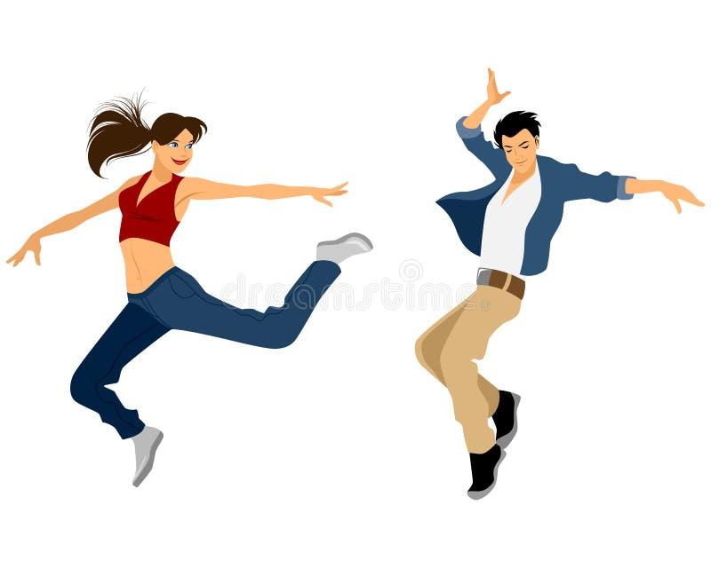 Faceta i dziewczyny taniec ilustracja wektor