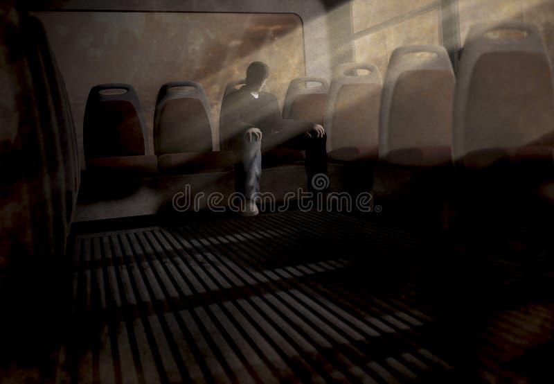 Faceta obsiadanie na przerażającym autobusie royalty ilustracja