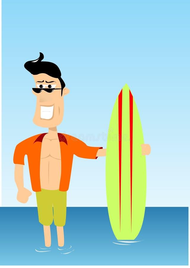 faceta surfingowiec ilustracja wektor