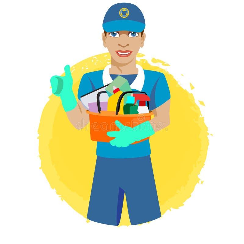 Faceta uczeń w baseball nakrętce, pracujący jako gospodyni, trzymający wiadro detergenty i czyścić produkt, fotografia stock