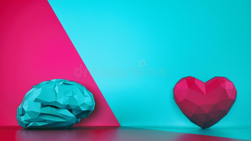 Comparison between reason and feeling. Faceted brain and heart on a two tone background. 3D Rendering royalty free stock image