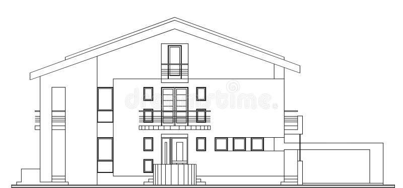 Fachada americana moderna da casa ilustração do vetor