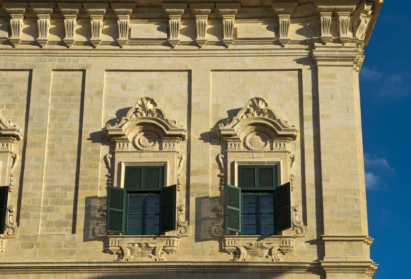 Fachada barroca del Auberge de Castille, Malat fotos de archivo libres de regalías