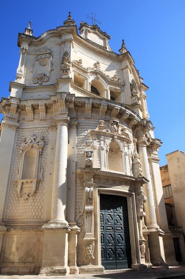Fachada barroco de Chiesa di San Matteo, Lecce, Itália imagens de stock royalty free