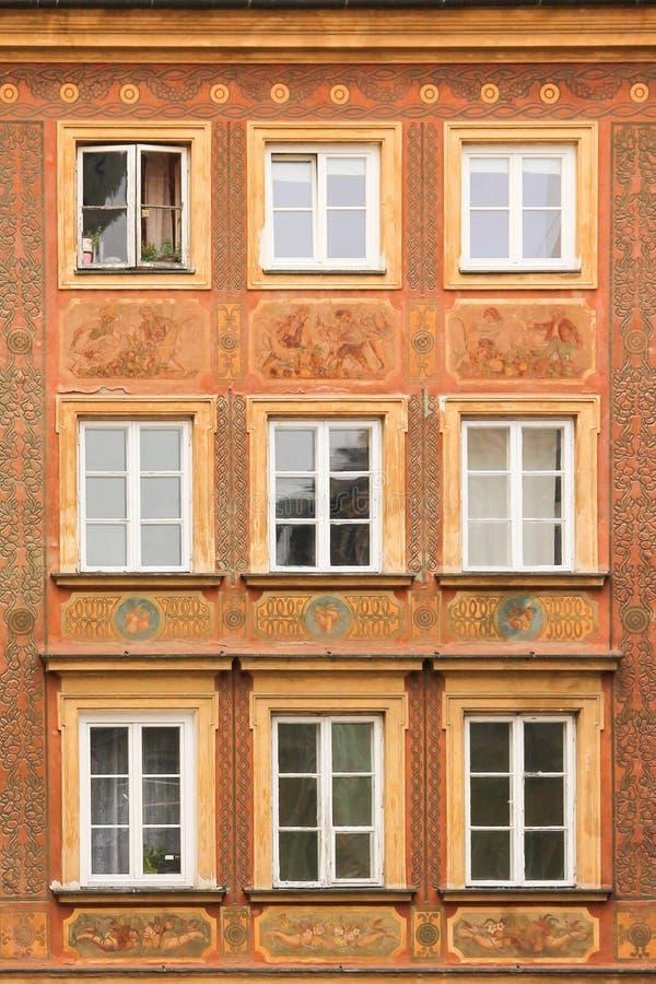 Fachada barroco na cidade velha. Varsóvia. Poland foto de stock
