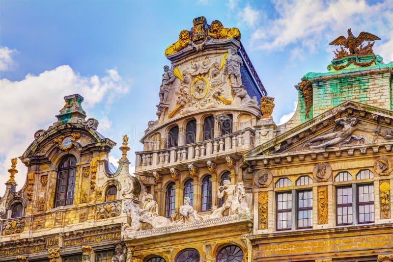Fachada bonita Grand Place Bruxelas Bélgica imagem de stock royalty free