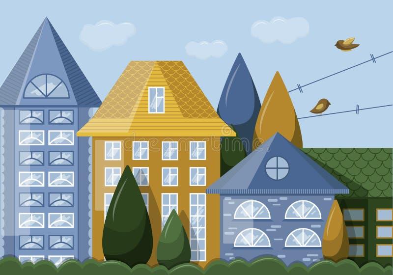 Fachada casera con las ventanas stock de ilustración