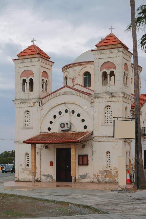 fachada ceremonial da igreja Panagia de Faneromeni Larnaca, Chipre imagens de stock