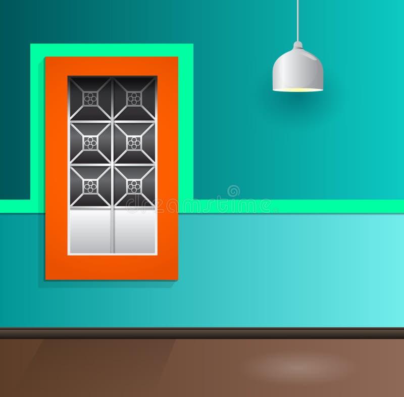 Fachada colonial da casa com janela e lâmpada ilustração do vetor