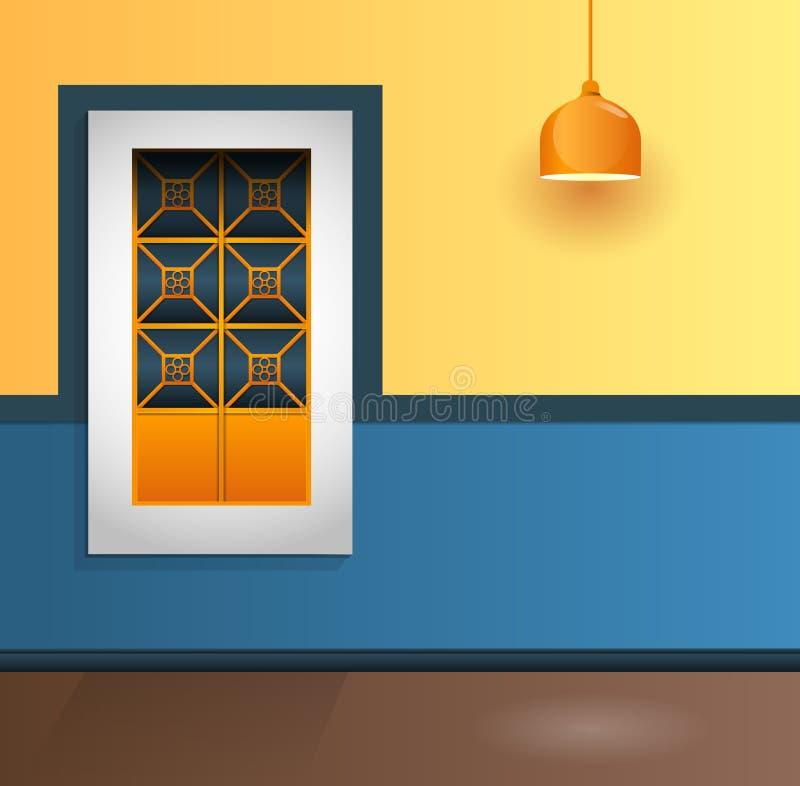Fachada colonial da casa com janela e lâmpada ilustração stock
