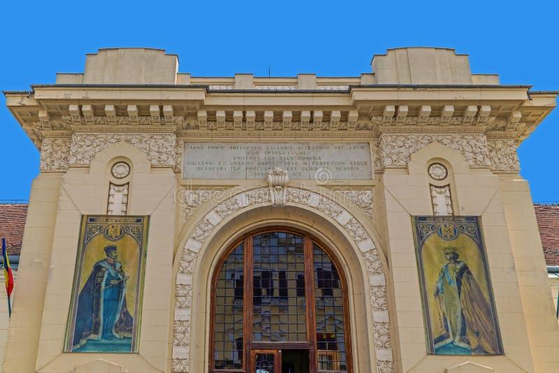 Fachada com detalhes de construção de Salão da união Iulia alba, Romania imagem de stock