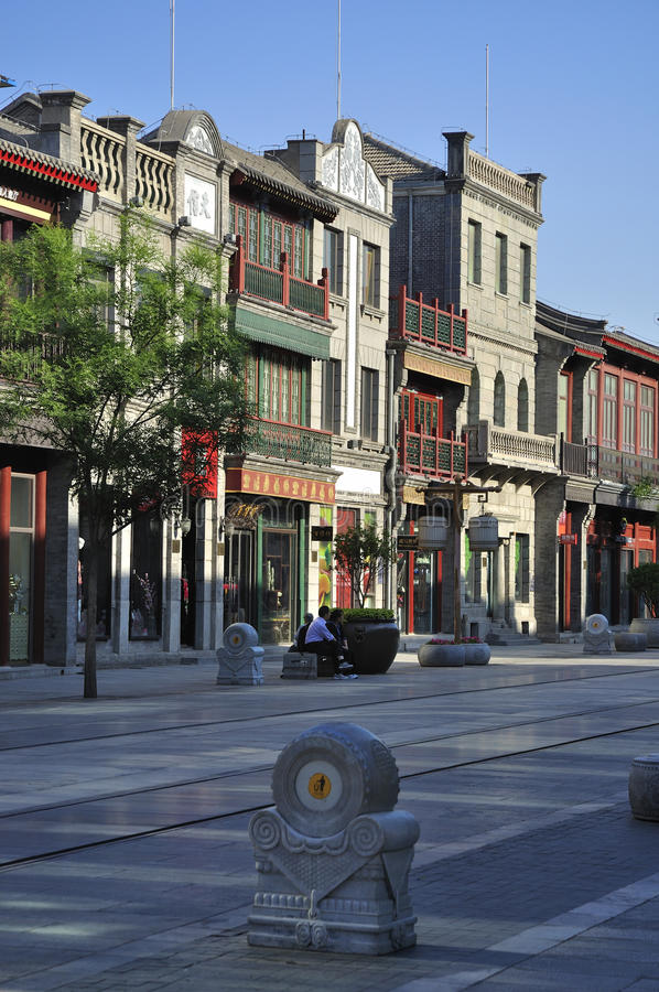 Fachada comercial do streetãBuild de Beijing Qianmen fotografia de stock royalty free