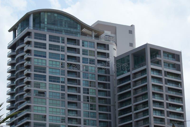 Fachada con los balcones fotos de archivo