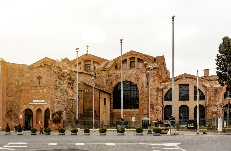 Fachada da basílica do dei Martiri dos ângeluss e do degli de Santa Maria fotos de stock