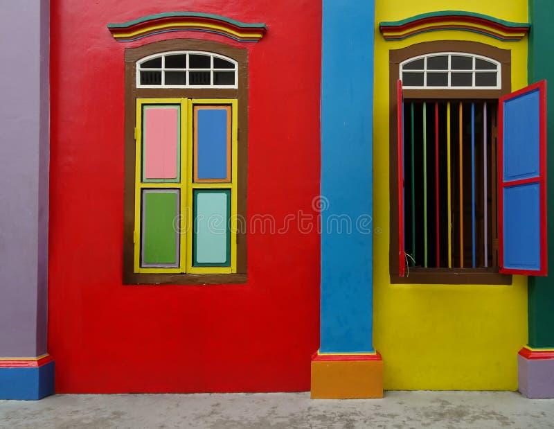Fachada da casa em pouca Índia no meio de Singapura fotos de stock royalty free