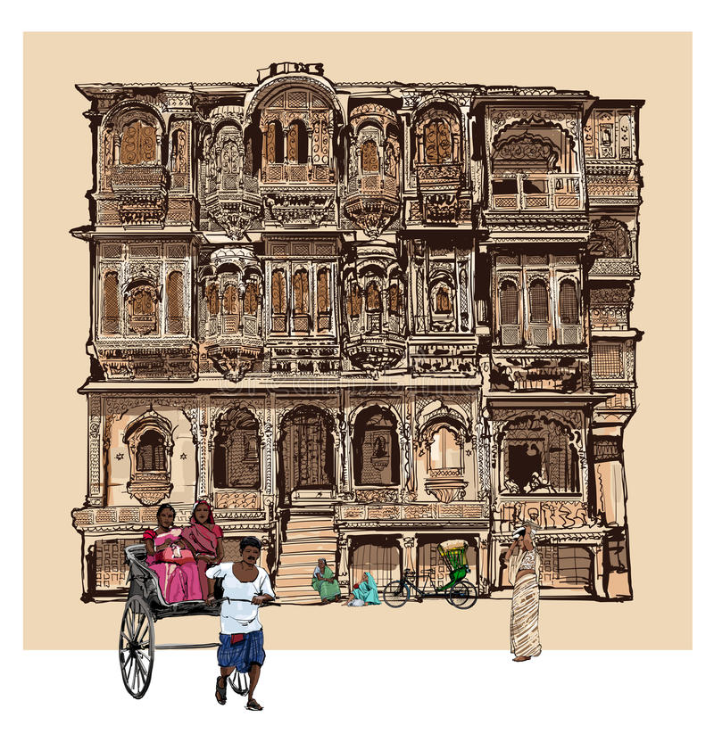 Fachada da casa velha com os balcões em Jodhpur, Índia ilustração do vetor