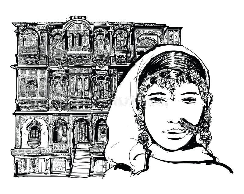 Fachada da casa velha em Jodhpur, Índia ilustração do vetor