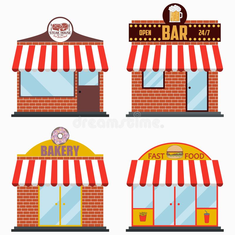 Fachada da construção com o quadro indicador ajustado - churrasqueira e restaurante da carne da grade, barra da cerveja, loja da  ilustração stock