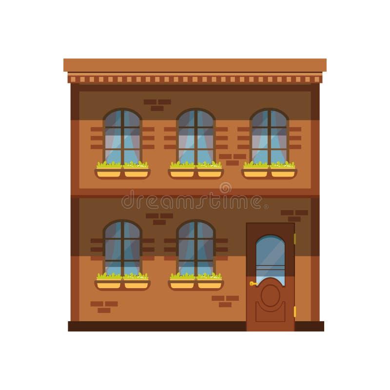 Fachada da construção de duas histórias, ilustração do vetor da casa da cidade ilustração stock