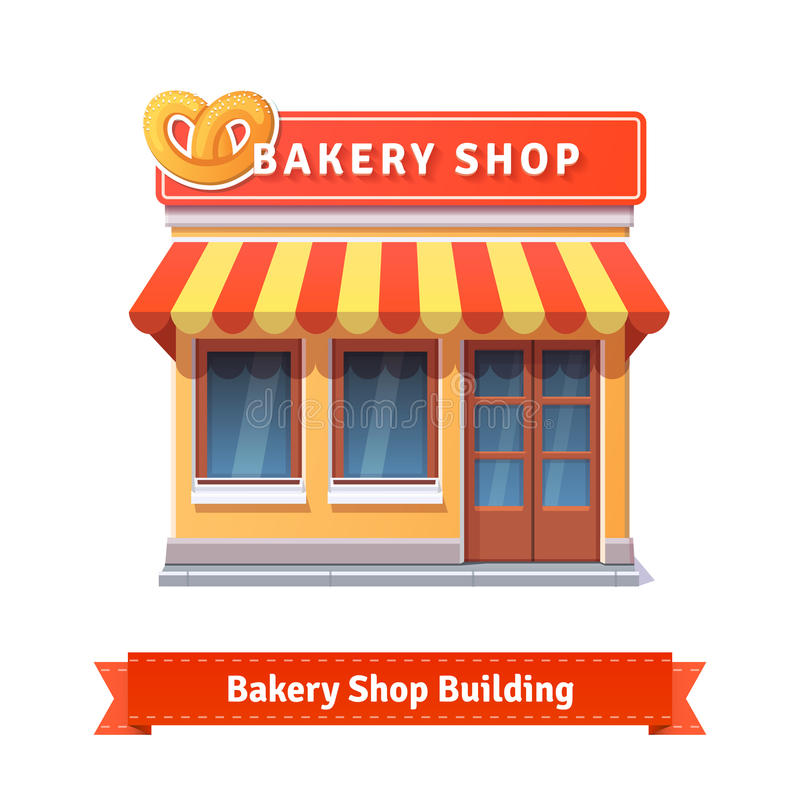 Fachada da construção de loja da padaria com quadro indicador ilustração royalty free