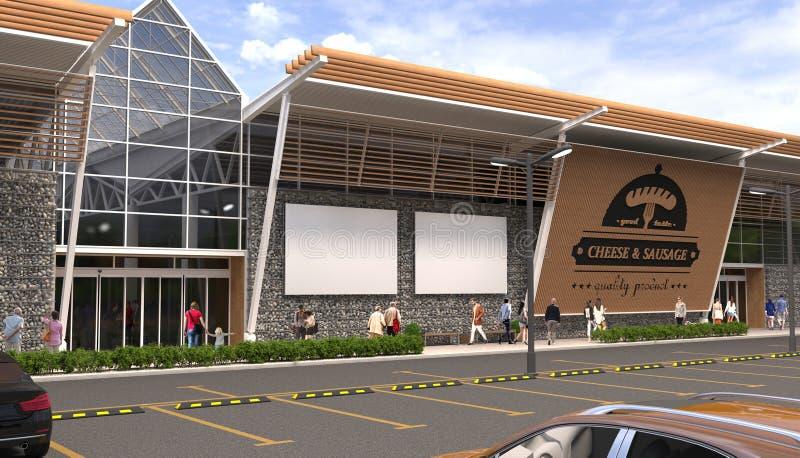 A fachada da construção de uma mercearia em um estilo moderno Bandeiras brancas vazias com espaço livre para anunciar cartazes c? ilustração royalty free