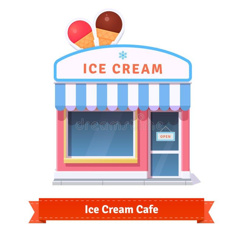 Fachada da construção do restaurante e de loja do gelado ilustração stock