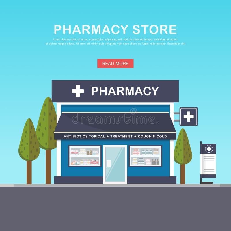 Fachada da farmácia no espaço urbano ilustração stock