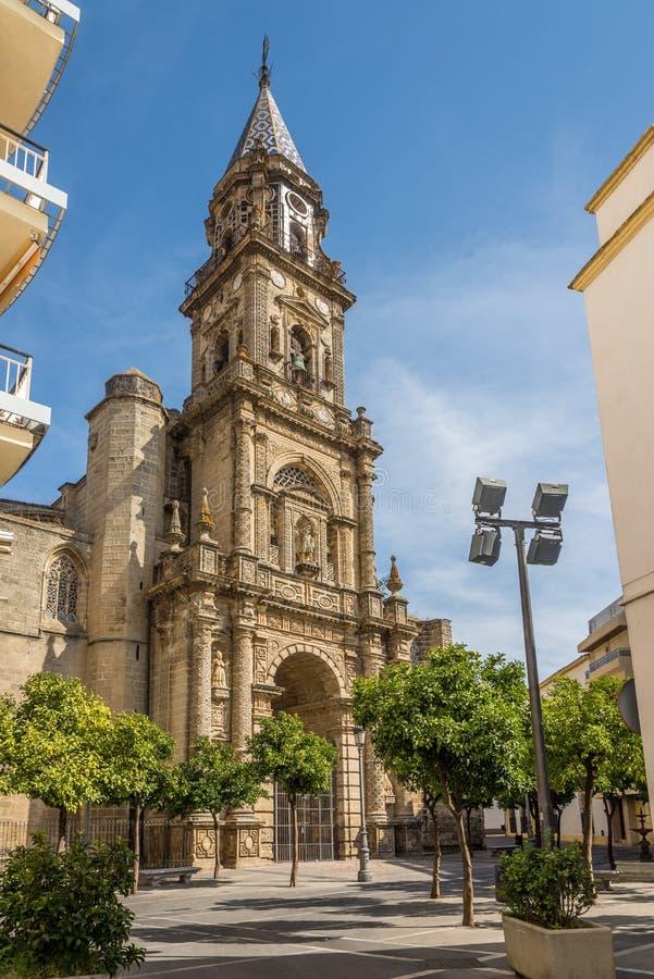 Fachada da igreja San Miguel em Jerez de la Frontera, Espanha imagem de stock royalty free