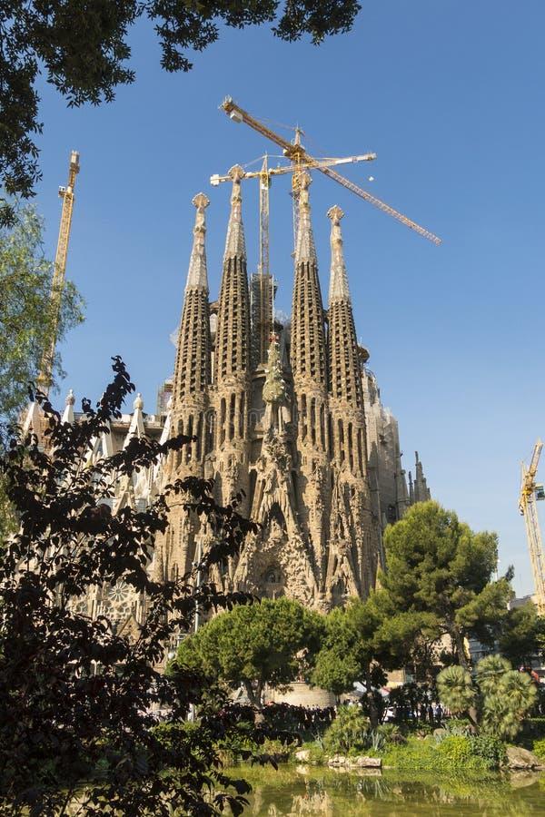 Fachada da natividade do La Sagrada Familia - a catedral impressionante fotografia de stock royalty free