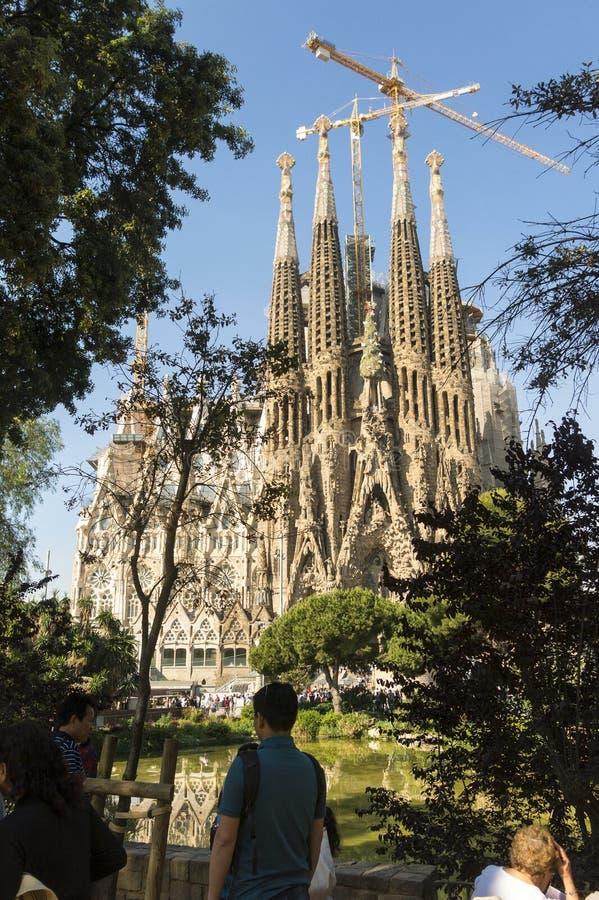 Fachada da natividade do La Sagrada Familia - a catedral impressionante fotografia de stock