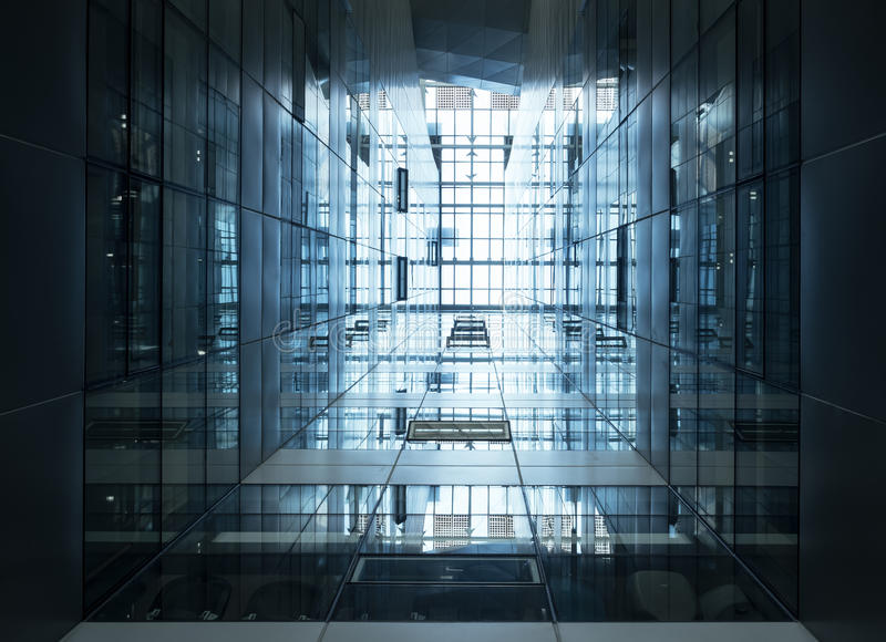 Fachada de acero de cristal moderna del edificio del detalle de la arquitectura imagen de archivo