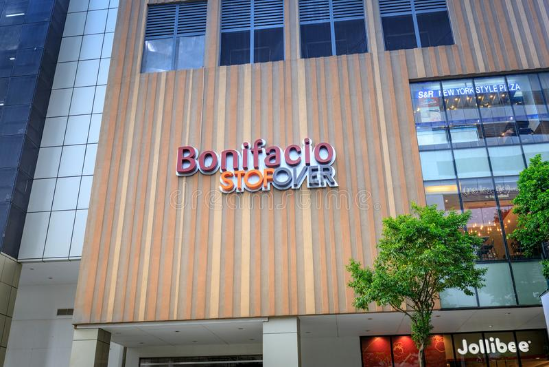 Fachada de Bonifacio Stopover o 1º de setembro de 2017 em Taguig, Filipinas fotografia de stock royalty free