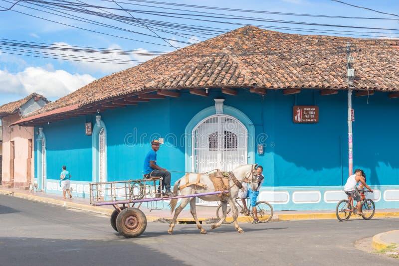 Fachada de casas coloridas no distrito histórico Granada no Ni imagem de stock