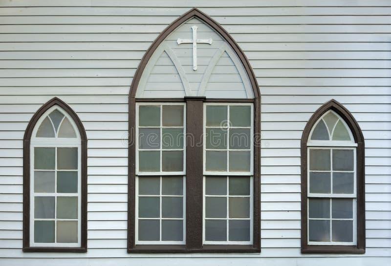 Fachada de Christian Nezu Church con su vitral que fecha el franco fotografía de archivo