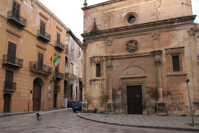 Fachada de Church°°° S. MARIA DEI MIRACOLI_. _ Palermo da estilo-igreja do renascimento fotografia de stock royalty free