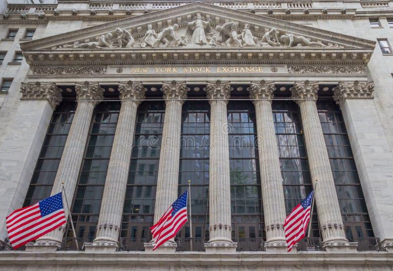 Fachada de la acción Eschange de Nueva York en Wall Street fotos de archivo libres de regalías