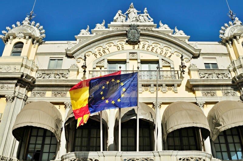 Fachada de la administración portuaria de Barcelona - España fotografía de archivo libre de regalías